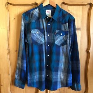 Men's Levis Pearl snap western plaid shirt sz M
